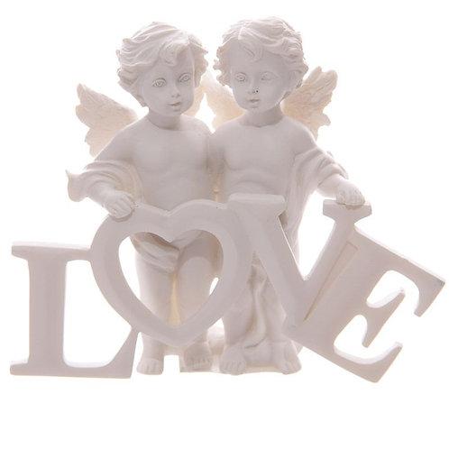 Cherubs Pair Holding LOVE Letters