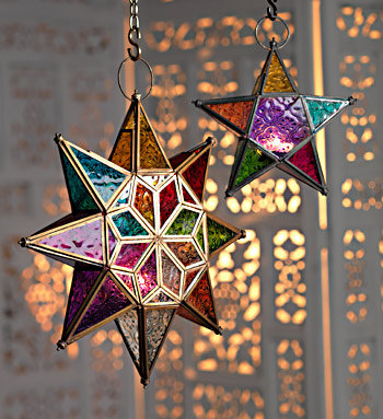Large Hanging Moroccan Style Star Glass Lantern