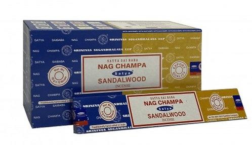 Satya Nag Champa and Sandalwood Incense Sticks 16g