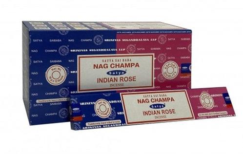 Satya Nag Champa and Indian Rose Incense Sticks