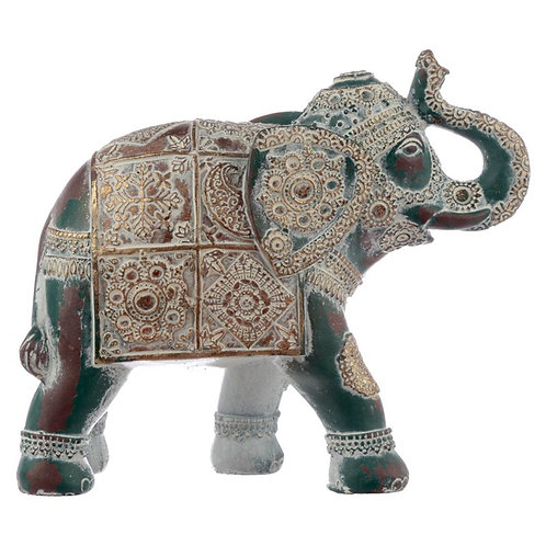 Thai Brushed Gold and White Verdigris Elephant - Small