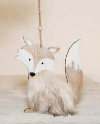 Hanging Wooden Fox with Faux Fur Decoration
