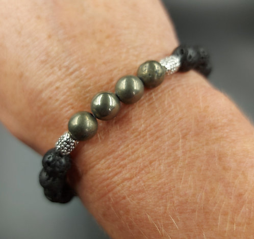 Lava Bead Bracelet with Pyrite