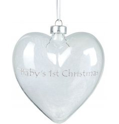 Feather Filled Glass Heart-Baby's First Christmas