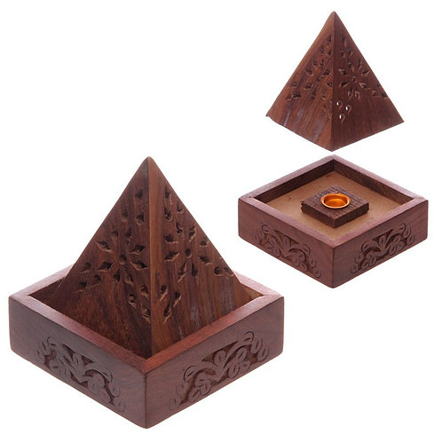 Sheesham Wood Pyramid Incense Cone Box