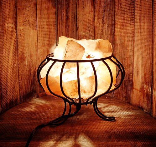 Salt Crystal Basket Lamp