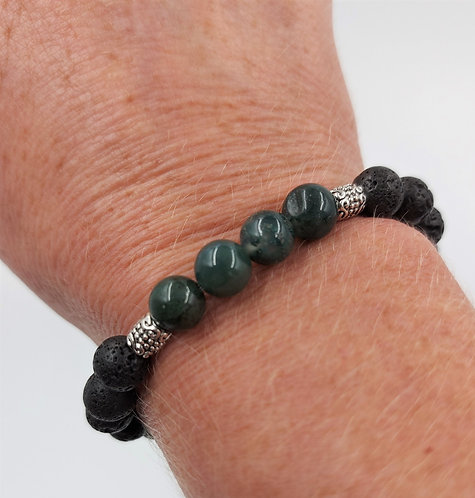 Lava Bead Bracelet with Moss Green Agate