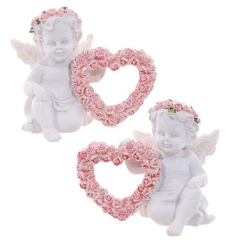 Cherub with Pink Rose Heart