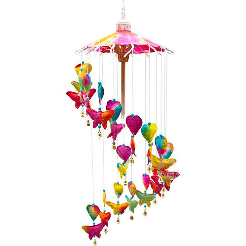 Multi-coloured hanging butterfly paper mobile