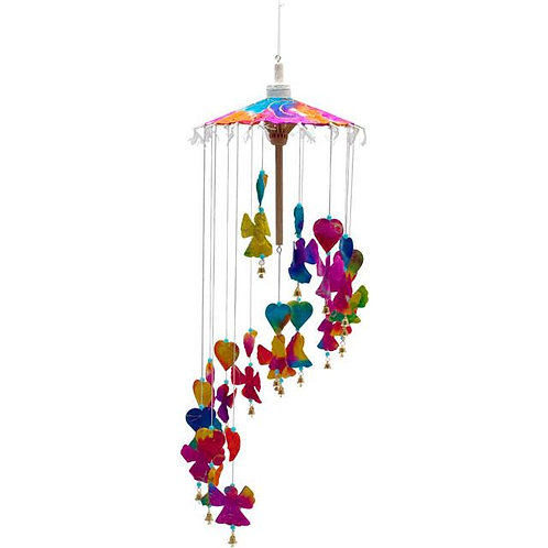 Multi-coloured hanging paper angel mobile