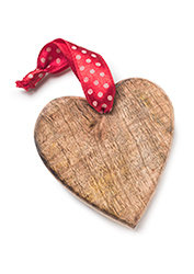 Wooden Hanging Heart Decoration With Ribbon