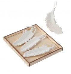 White Ceramic Hanging Feather Decoration