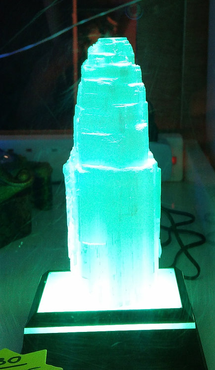 Selenite Crystal Mountain LED Light