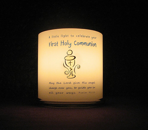 Personalised Communion candle lantern, front view, lit