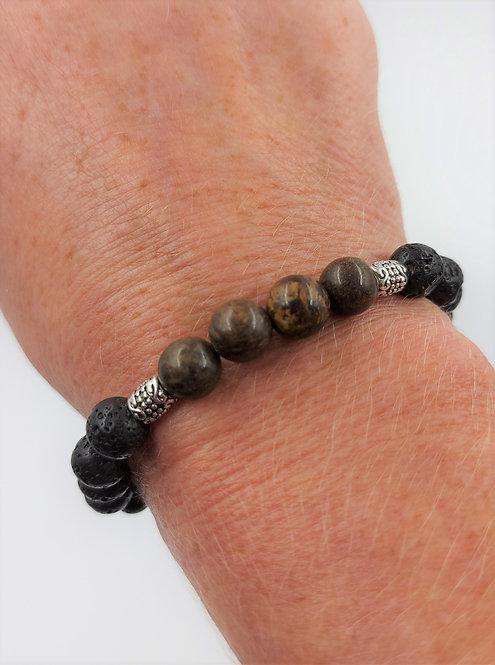Lava Bead Bracelet with Bronzite