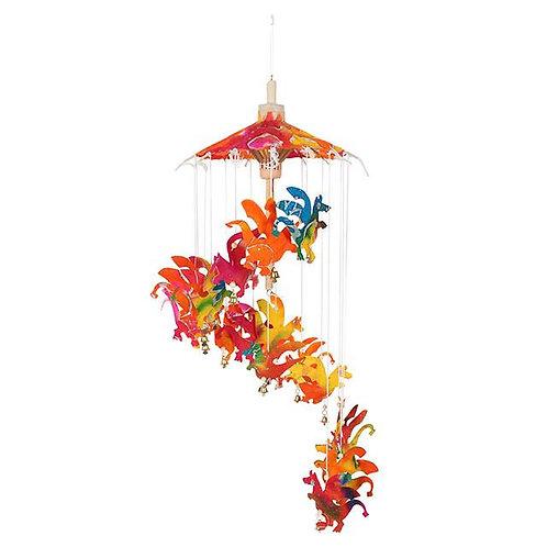 Multi-coloured hanging dragon paper mobile