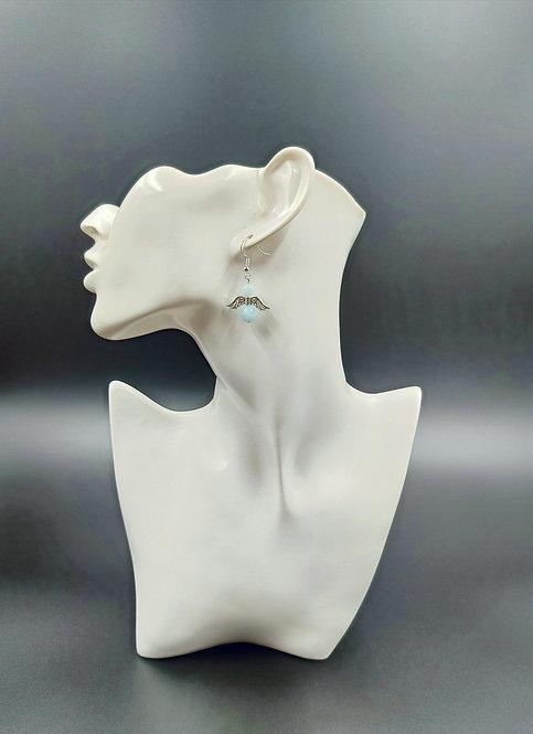 Silver Plated Aquamarine Angel Earrings