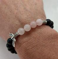 Lava bead with rose quartz