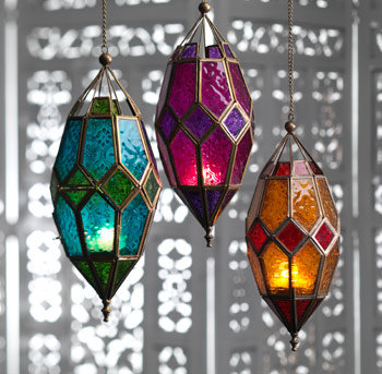 Large Hanging Moroccan Style Glass Lantern