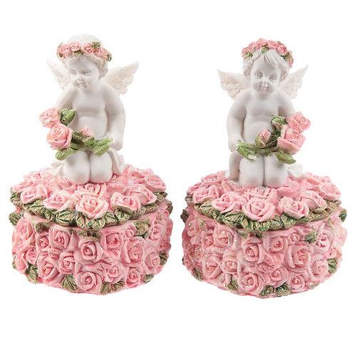 Rosebud Heart Cherub Trinket Box
