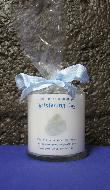 White christening candle lantern front, gift wrapped