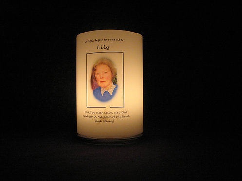 Personalised remembrance candle lantern lit