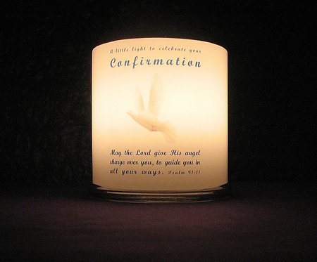 Personalised Confirmation candle lantern, front view, lit