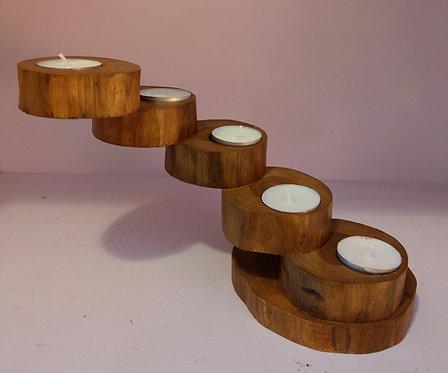 Teak Spiral Tea Light Holder-5