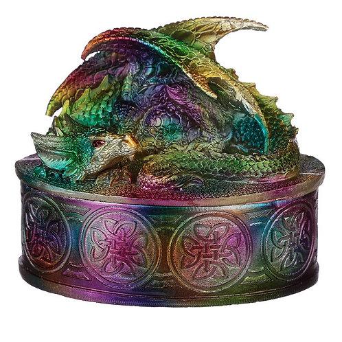 Rainbow Dragon Metallic Trinket Box