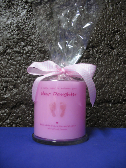 New birth pink candle lantern girl front