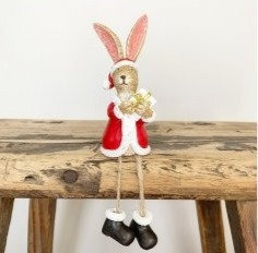 Shelf Sitter Santa Rabbit With Present