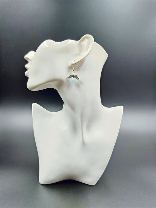 Silver Plated Aquamarine Angel Wing Earrings