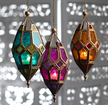 Hanging Moroccan Style Glass Lantern