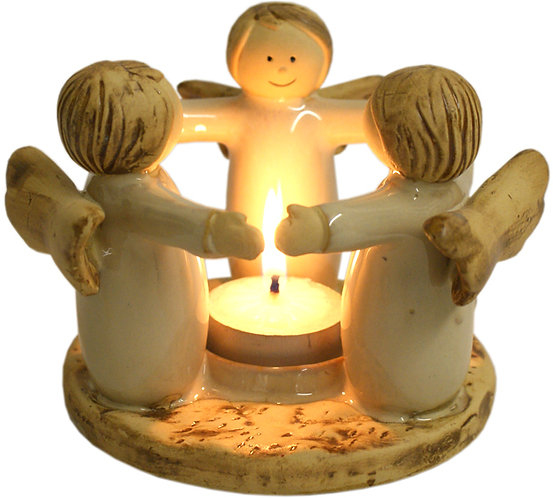 Brown circle of angels tea light holder with lighted candle