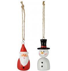 Hanging Snowman & Santa Decoration