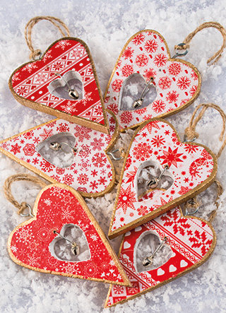Hanging Wooden Heart Decoration With Bell