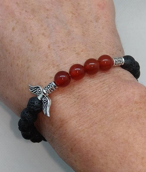 Lava Bead Bracelet with Carnelian