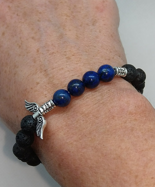 Lava Bead Bracelet with Lapis Lazuli
