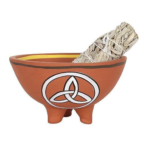 13cm Triquetra Terracotta Smudge Bowl
