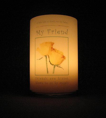 Friend candle lantern lit