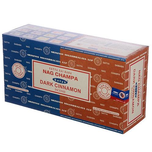 Satya Nag Champa and Dark Cinnamon Incense Sticks 16g