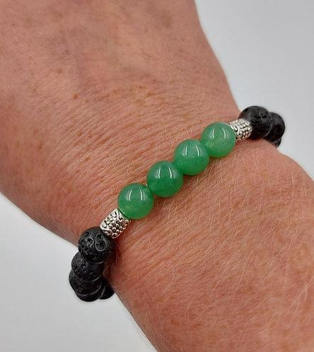 Lava Bead Bracelet with Green Jade