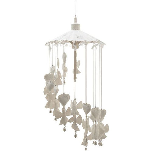White hanging paper angel mobile