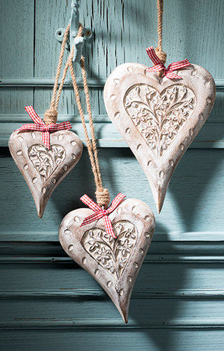 Carved Wooden Hanging Heart-White Finish-12 cm