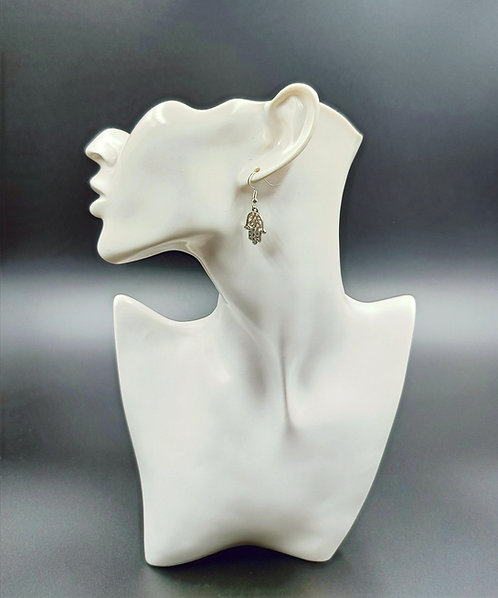 Silver Plated Hamsa Hand Earrings