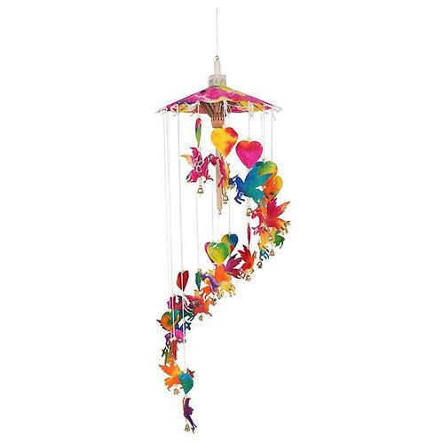 Multi-coloured hanging unicorn paper mobile