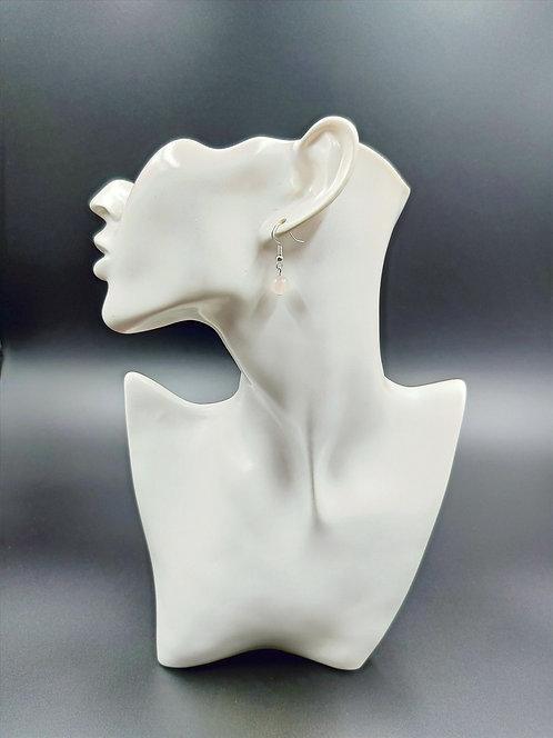 Silver Plated Rose Quartz Earrings
