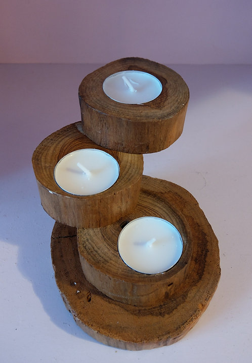 Teak Spiral Tea Light Holder-3
