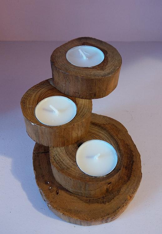 Teak Spiral Tea Light Holder-3
