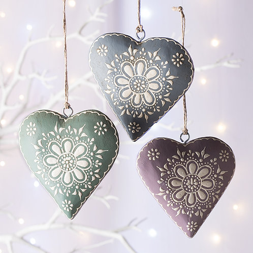 Hand Painted Wooden Hanging Heart-9 cm